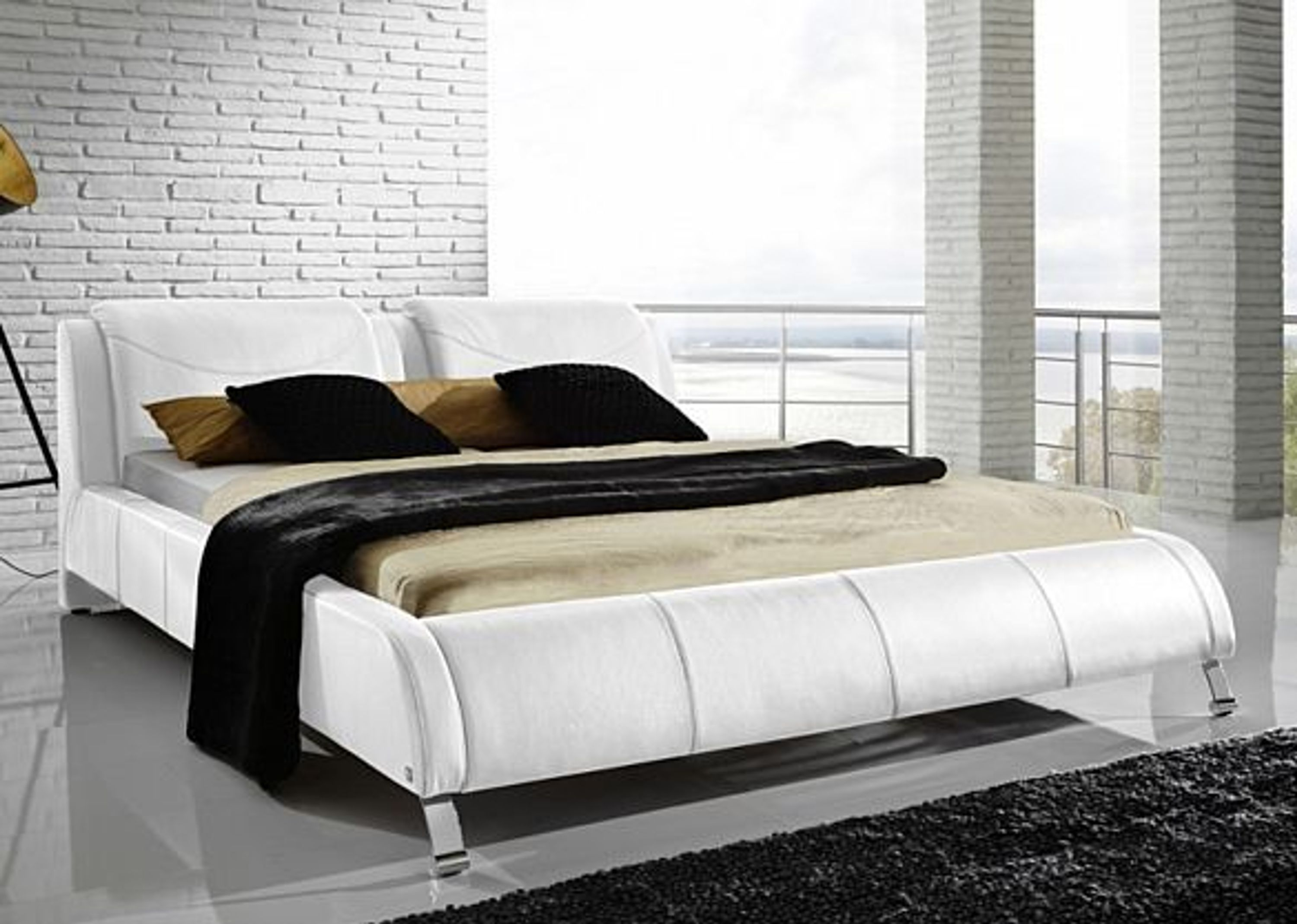 polsterbett bellini futonbett doppelbett lederbett wei. Black Bedroom Furniture Sets. Home Design Ideas
