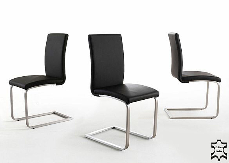 freischwinger leder 2er set otis schwingst hle edelstahl schwarz 4038 kaufen bei. Black Bedroom Furniture Sets. Home Design Ideas