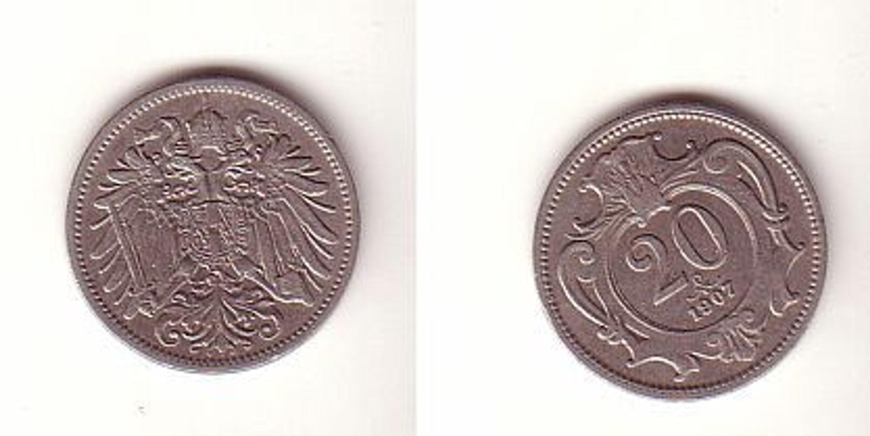 20 Heller Kupfer Nickel Münze österreich 1907 Gebraucht Kaufen Bei
