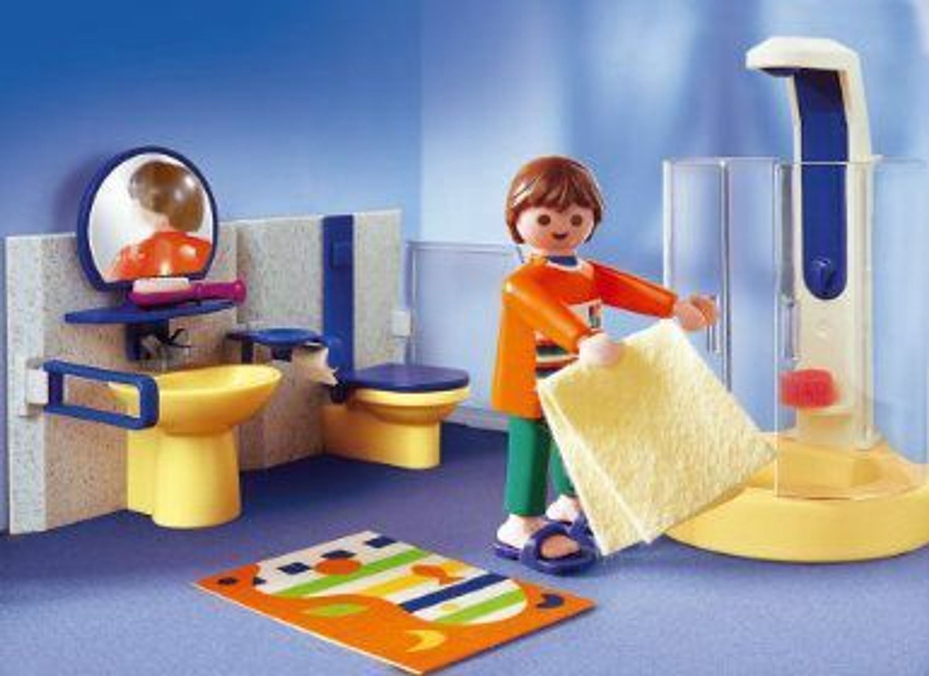 playmobil 3969 bad mit dusche und figur a brause klo waschbecken wc toilette kaufen bei. Black Bedroom Furniture Sets. Home Design Ideas