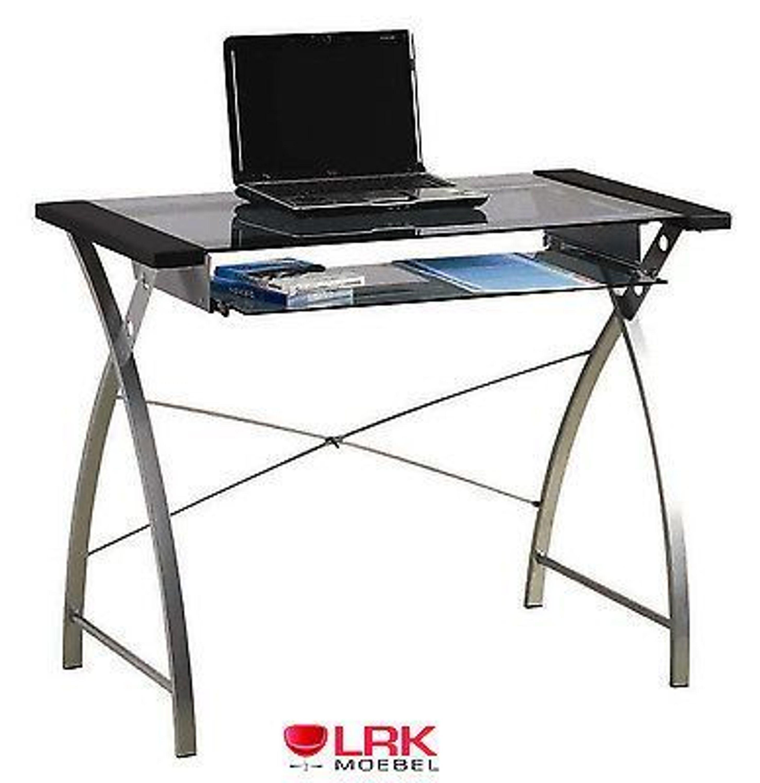 computertisch tisch m bel b rotisch b ro pc tisch schreibtisch mit glasplatte kaufen bei. Black Bedroom Furniture Sets. Home Design Ideas