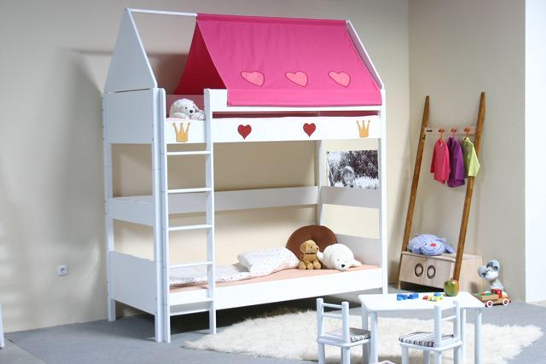 taube m bel etagenbett prinzessin h he 154 182 mit dach buche massiv wei kaufen bei. Black Bedroom Furniture Sets. Home Design Ideas