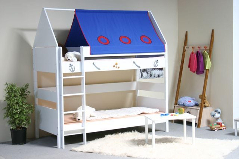 taube m bel etagenbett pirat h he 154 182 mit dach buche massiv wei kaufen bei. Black Bedroom Furniture Sets. Home Design Ideas