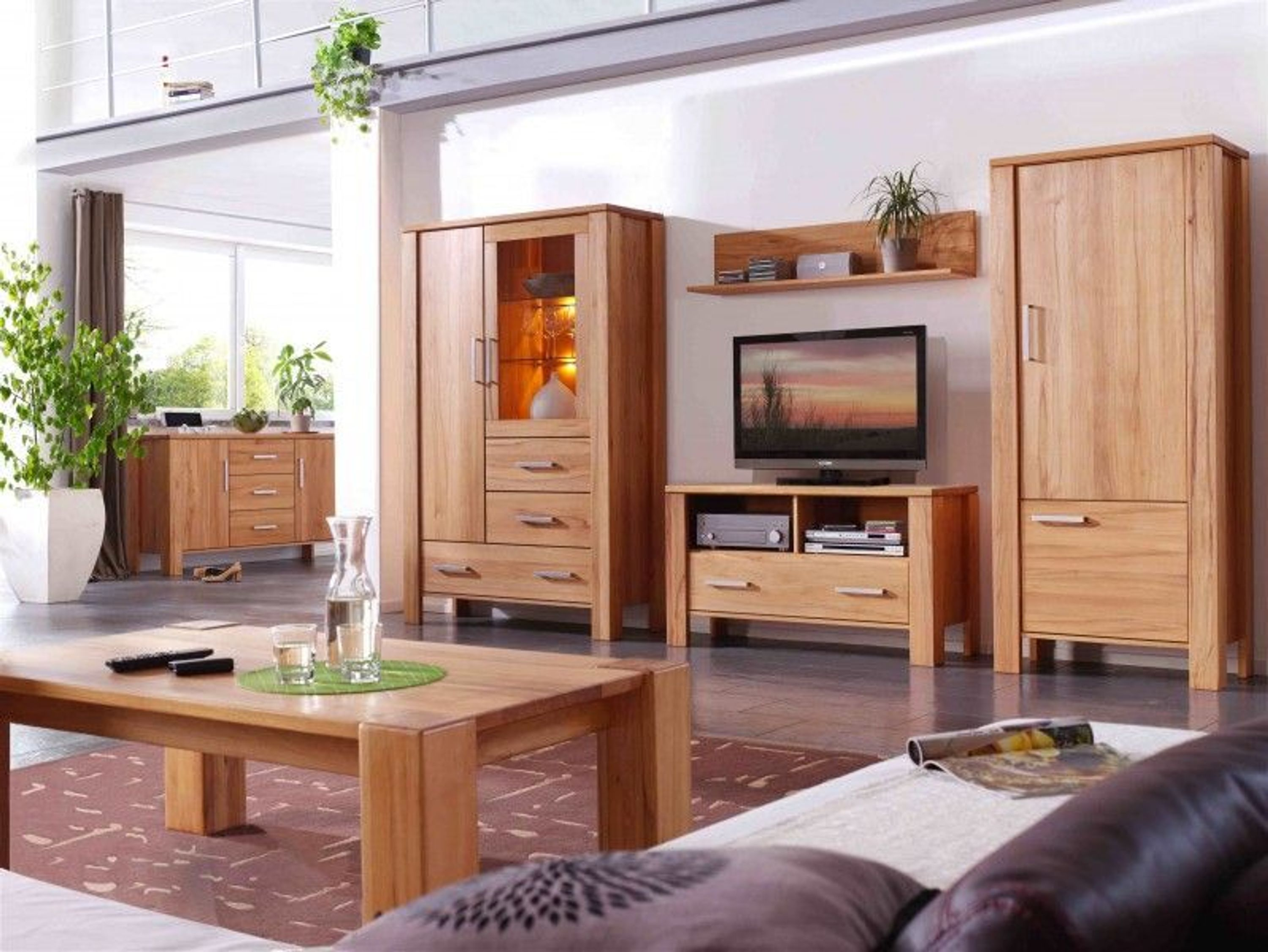 wohnzimmer schrank sideboard wandboard tv kernbuche massiv kaufen bei. Black Bedroom Furniture Sets. Home Design Ideas