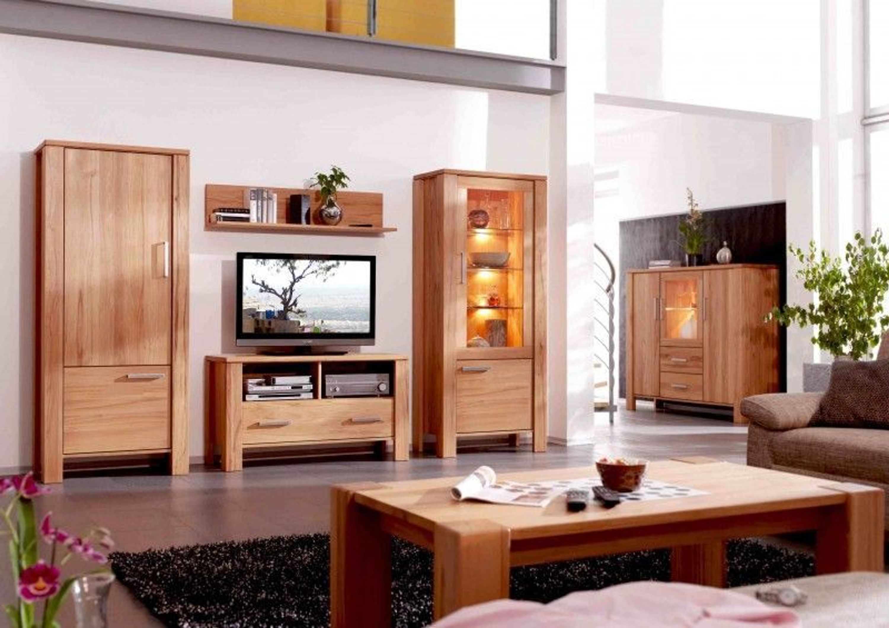wohnzimmer 6 teilig kernbuche massiv kaufen bei. Black Bedroom Furniture Sets. Home Design Ideas