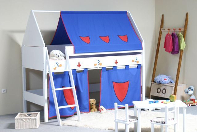 taube m bel spielbett ritter h he 124 mit dach und vorhang buche massiv wei kaufen bei. Black Bedroom Furniture Sets. Home Design Ideas