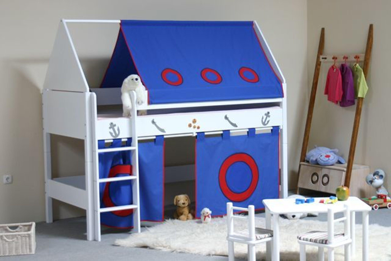 taube m bel spielbett pirat h he 124 mit dach und vorhang buche massiv wei kaufen bei. Black Bedroom Furniture Sets. Home Design Ideas