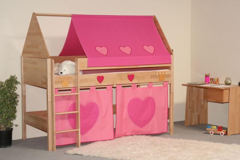 taube m bel spielbett prinzessin h he 124 mit dach und vorhang buche massiv kaufen bei. Black Bedroom Furniture Sets. Home Design Ideas