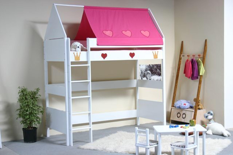 taube m bel hochbett prinzessin h he 154 182 mit dach. Black Bedroom Furniture Sets. Home Design Ideas