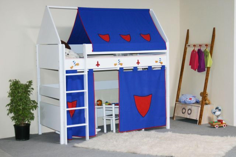 taube m bel hochbett ritter h he 154 182 mit dach und vorhang massiv wei kaufen bei. Black Bedroom Furniture Sets. Home Design Ideas