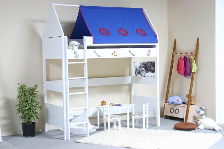 taube m bel hochbett pirat h he 154 182 mit dach und vorhang massiv wei kaufen bei. Black Bedroom Furniture Sets. Home Design Ideas