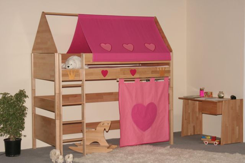 taube m bel hochbett prinzessin h he 154 182 mit dach u. Black Bedroom Furniture Sets. Home Design Ideas