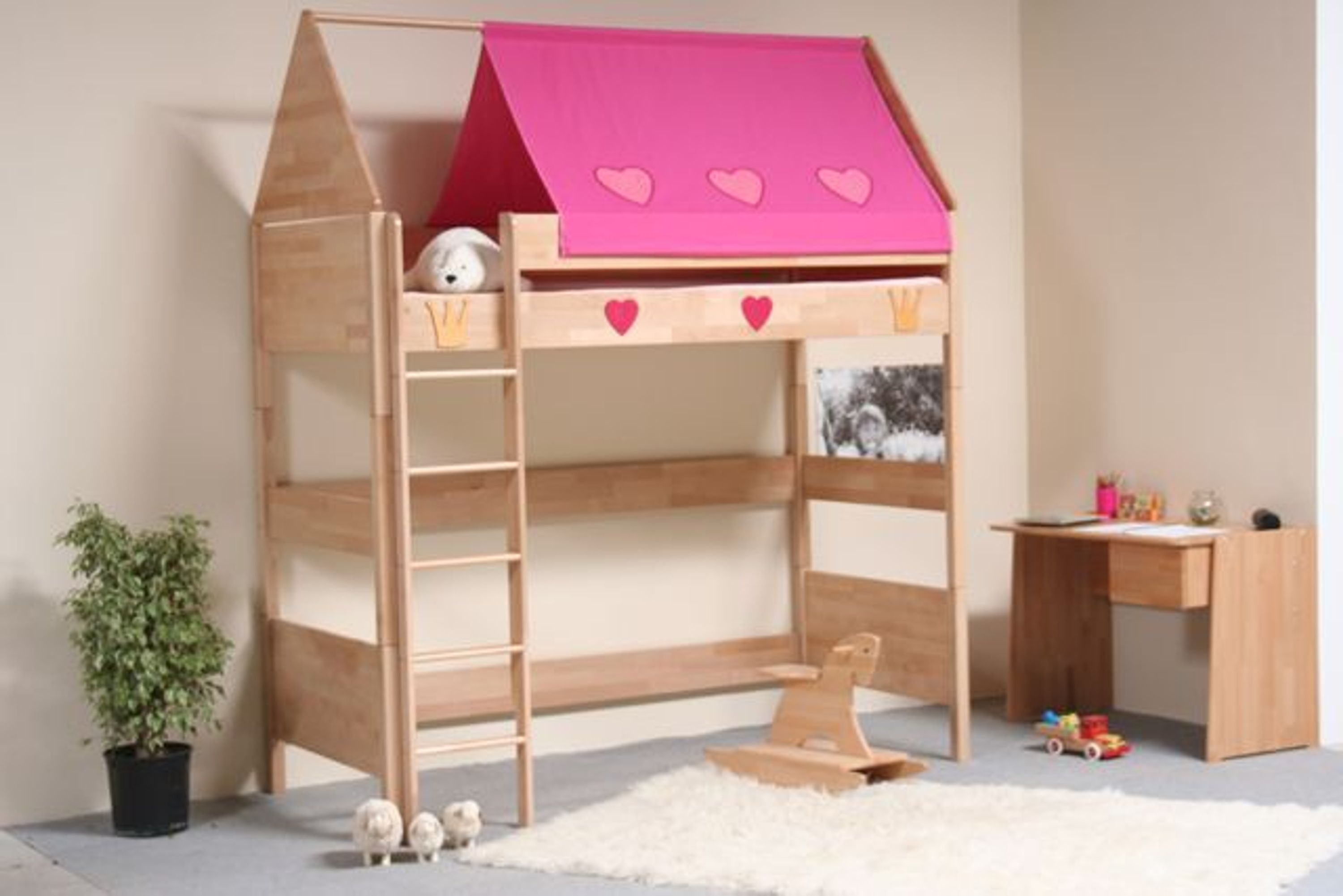 taube m bel hochbett prinzessin h he 154 182 mit dach buche massiv kaufen bei. Black Bedroom Furniture Sets. Home Design Ideas