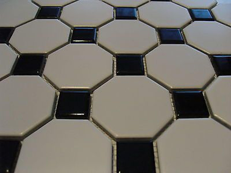 1 qm mosaik fliesen keramik octagon weiss schwarz gl nzend matt achteck p014 kaufen bei. Black Bedroom Furniture Sets. Home Design Ideas