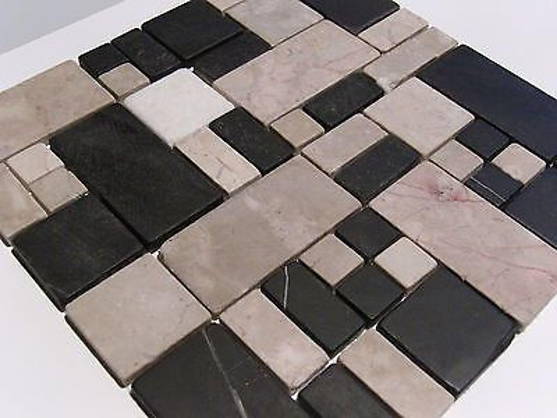 Glasmosaik Naturstein Marmor Fliesen schwarz grau mix Multiformat Bad Dusche kaufen bei Hood.de