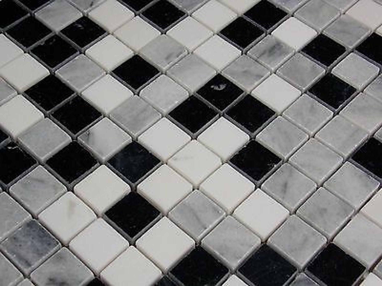 naturstein marmormosaik mosaik fliesen carrara schwarz weiss grau poliert 1qm kaufen bei. Black Bedroom Furniture Sets. Home Design Ideas