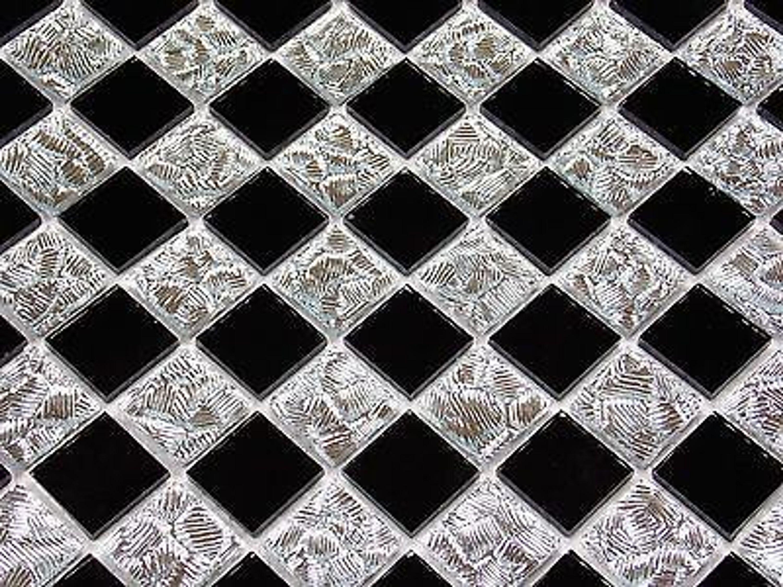glasmosaik mosaik fliesen klarglas spiegel chrom silber schwarz bad dusche pool kaufen bei. Black Bedroom Furniture Sets. Home Design Ideas