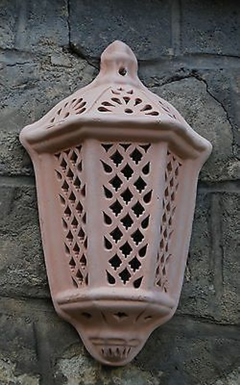 wandlampe windlicht lampe laterne aus terracotta terrakotta garten innenraum kaufen bei. Black Bedroom Furniture Sets. Home Design Ideas