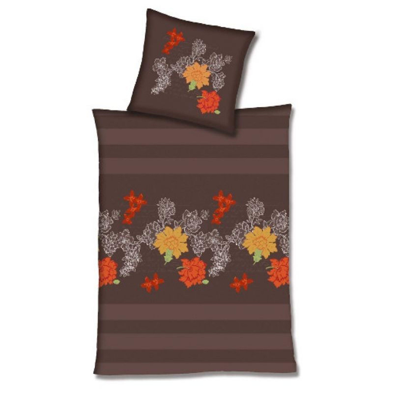 hahn haustextilien edelflanell bettw sche streifen blumen. Black Bedroom Furniture Sets. Home Design Ideas