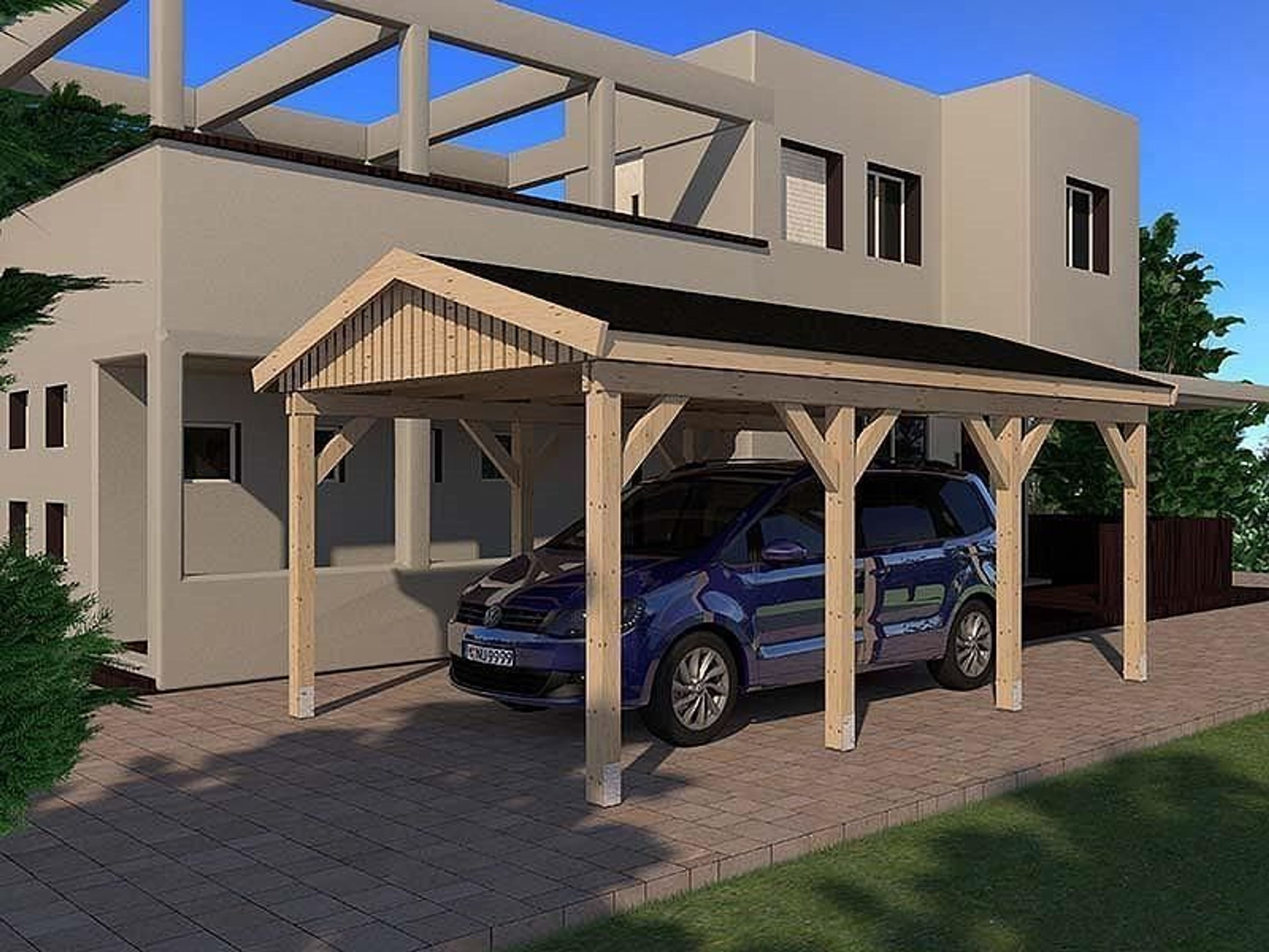 carport satteldach le mans i 350x600cm konstruktionsvollholz kvh bausatz fichte kaufen bei. Black Bedroom Furniture Sets. Home Design Ideas