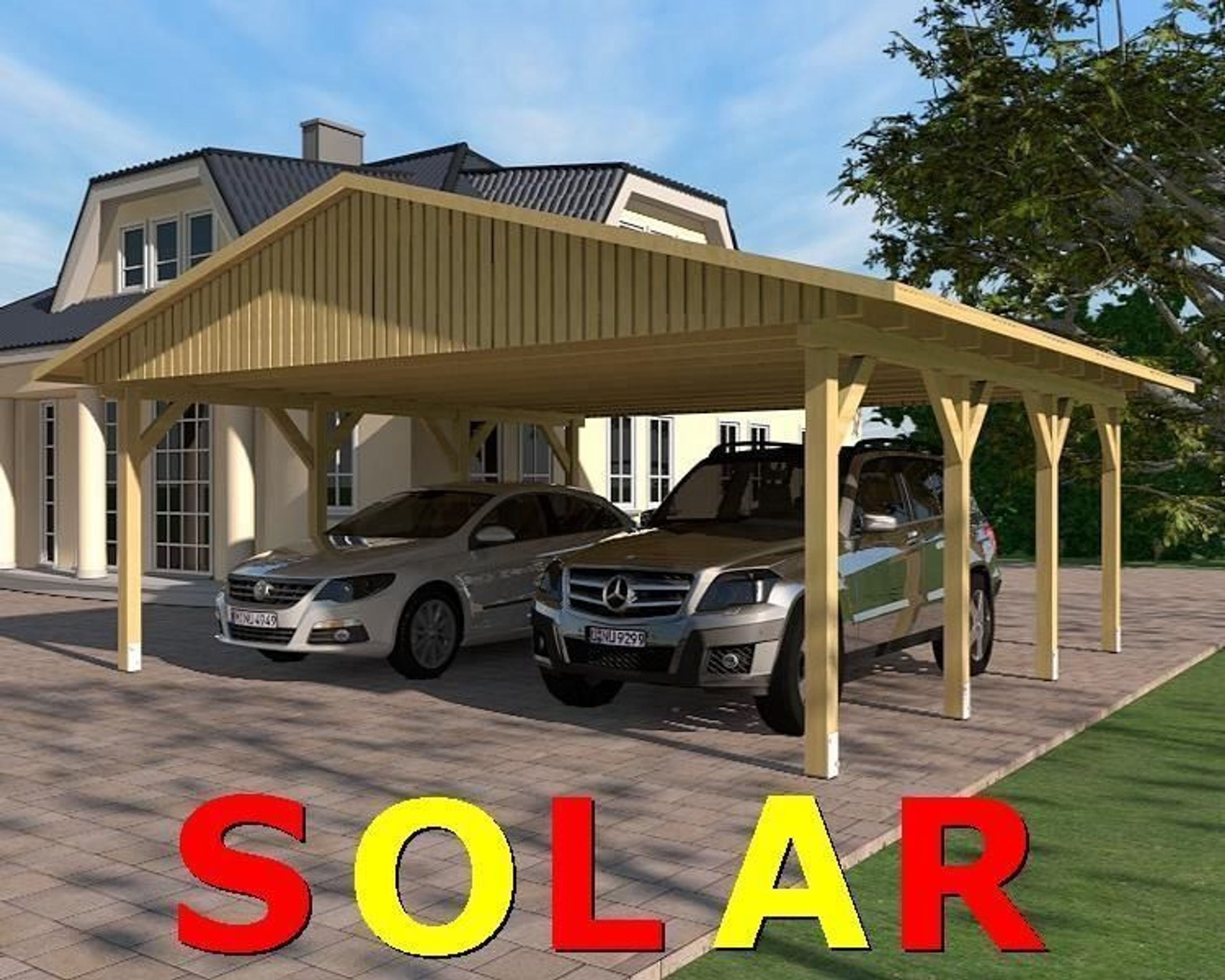 carport satteldach sunshine i solar 600x600cm kvh holz kaufen bei. Black Bedroom Furniture Sets. Home Design Ideas