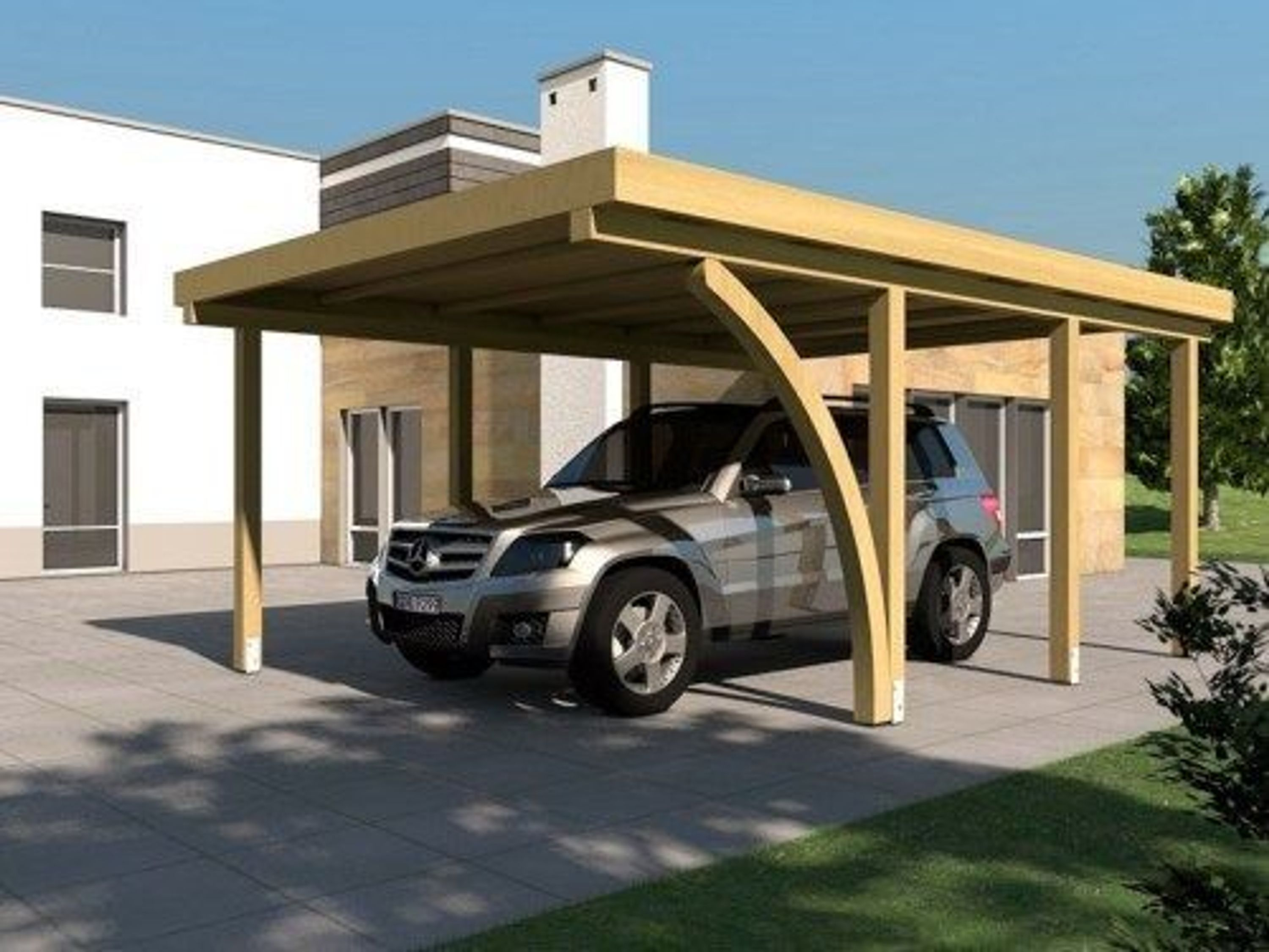 carport flachdach daytona i 400 x 600 cm mit leimholzbogen. Black Bedroom Furniture Sets. Home Design Ideas