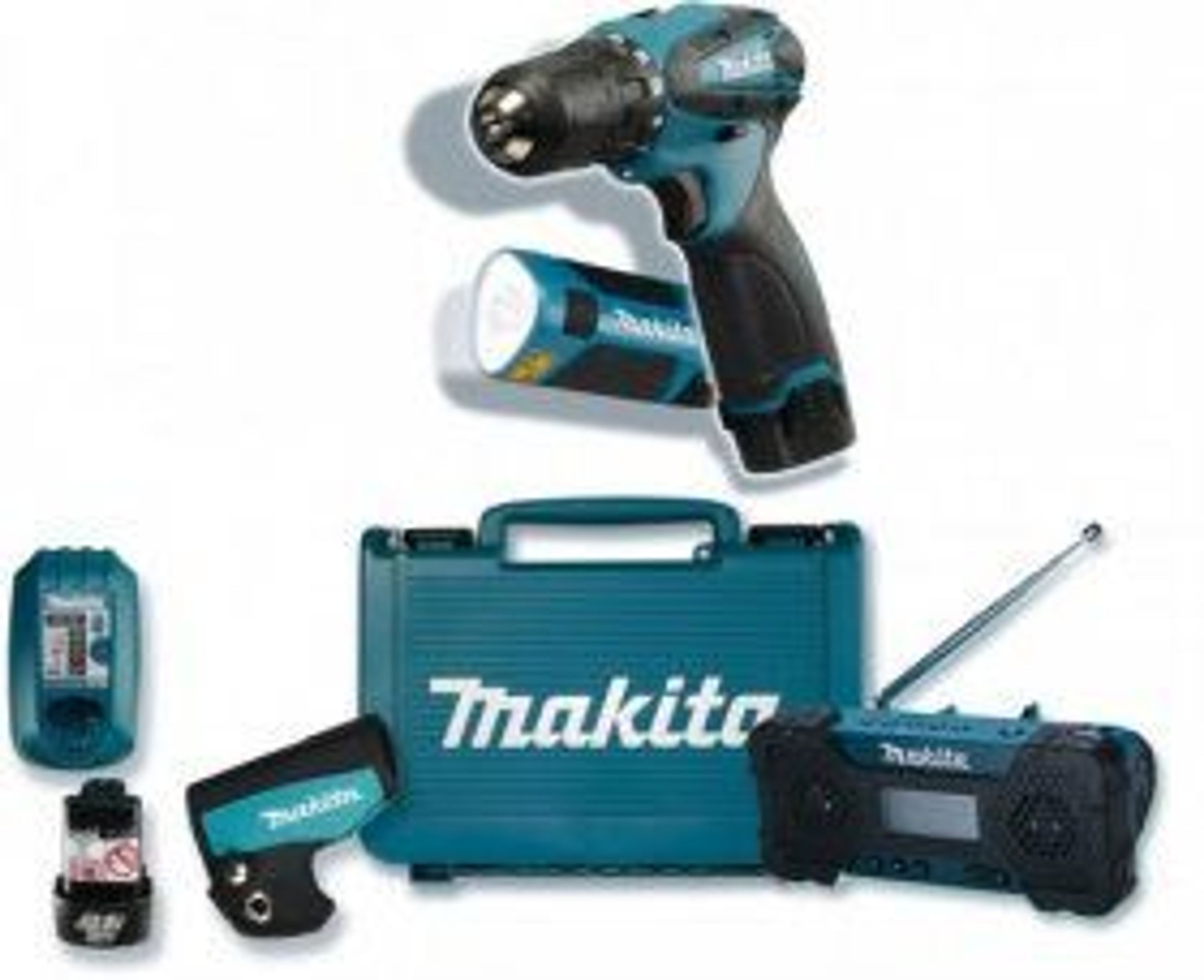 makita aktionsset akkuschrauber lampe radio kaufen bei. Black Bedroom Furniture Sets. Home Design Ideas