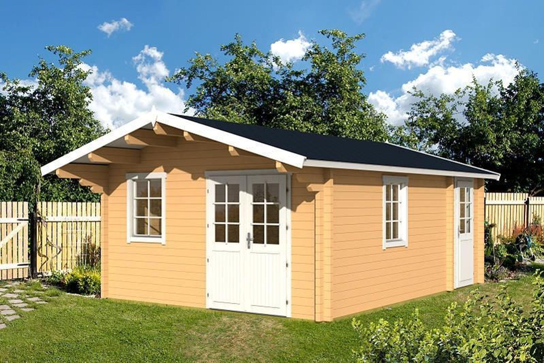 gartenhaus gotland b 70 blockhaus 440 x 595 cm 100 cm vordach holzhaus 70 mm kaufen bei. Black Bedroom Furniture Sets. Home Design Ideas