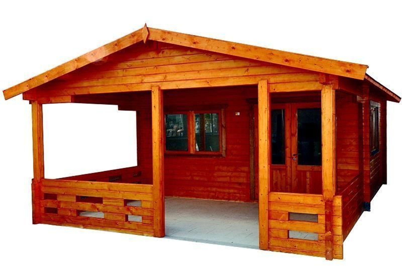 Gartenhaus Freiburg Blockhütte 500x400cm + Veranda - Blockhaus Holzhaus -  70 mm