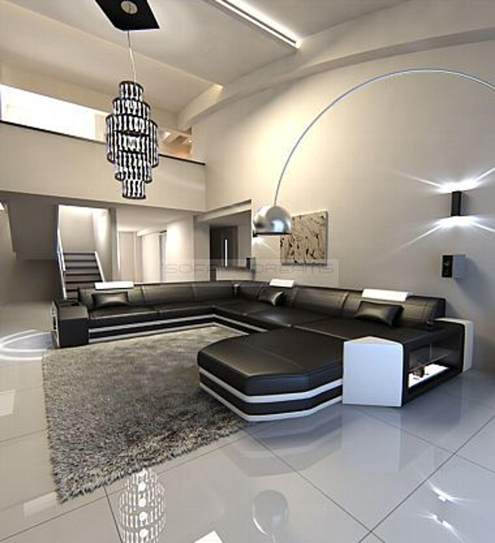mega wohnlandschaft prato xxl design couch mit licht eckcouch kaufen bei. Black Bedroom Furniture Sets. Home Design Ideas