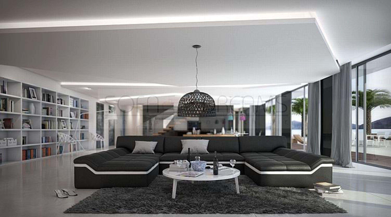 Moderne Wohnlandschaft Barari U Form Sofa Design Couch Relaxsofa