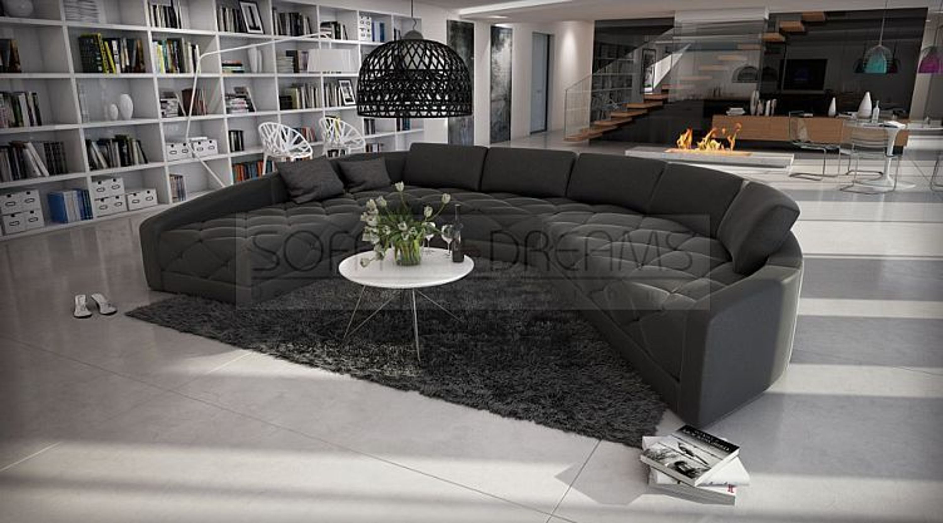 rundsofa secreto gesteppte sitzflaechen designersofa luxuscouch kaufen bei. Black Bedroom Furniture Sets. Home Design Ideas