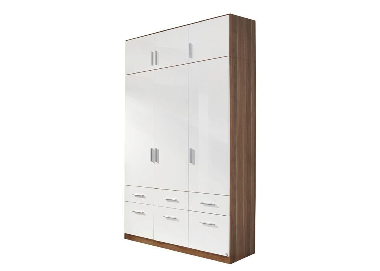 kleiderschrank celle 136 0 cm mit aufsatz nussbaum hochglanz wei 8262 kaufen bei. Black Bedroom Furniture Sets. Home Design Ideas