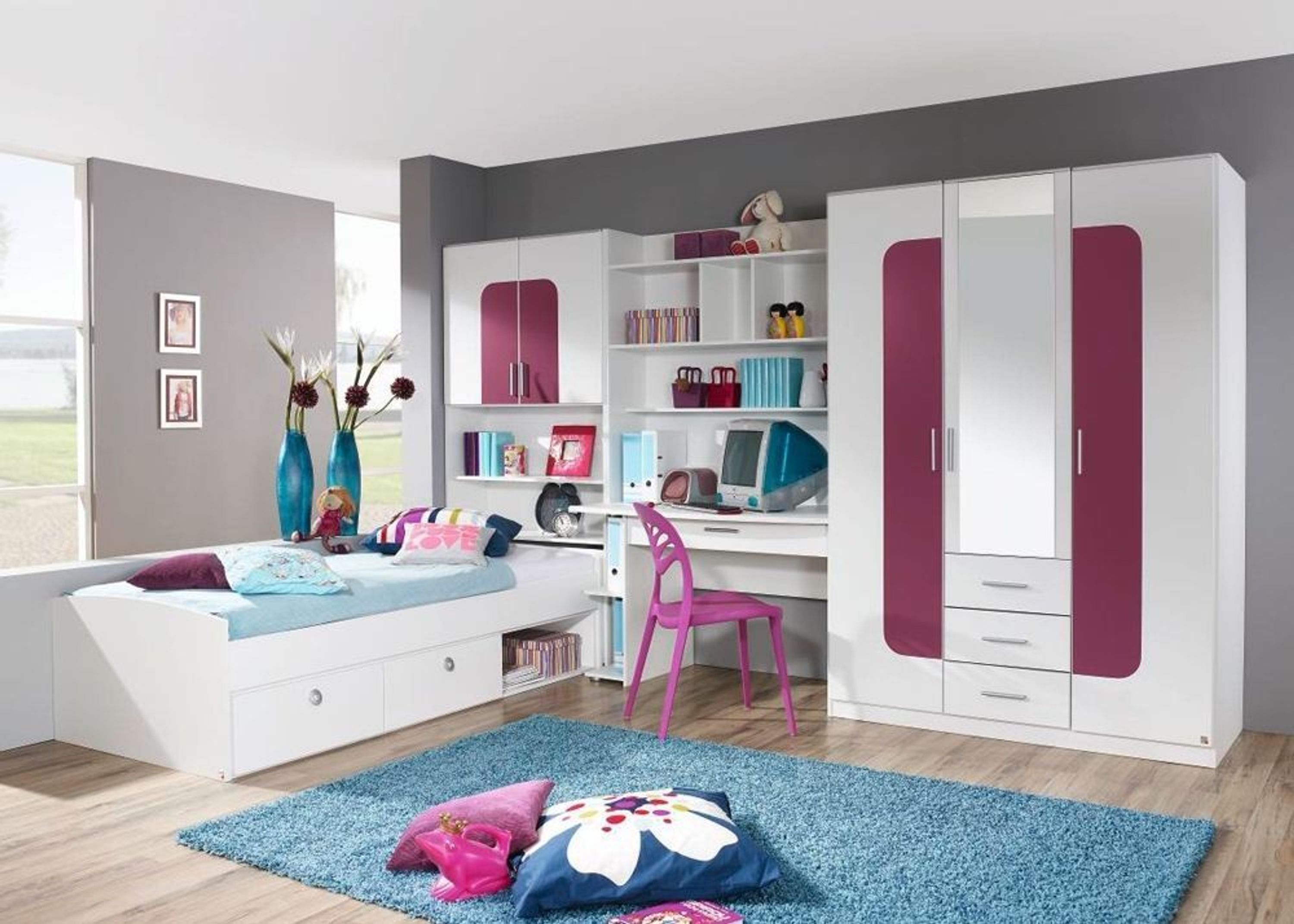 jugendzimmer komplett utah kinderzimmer wei lila aubergine 8449 kaufen bei. Black Bedroom Furniture Sets. Home Design Ideas