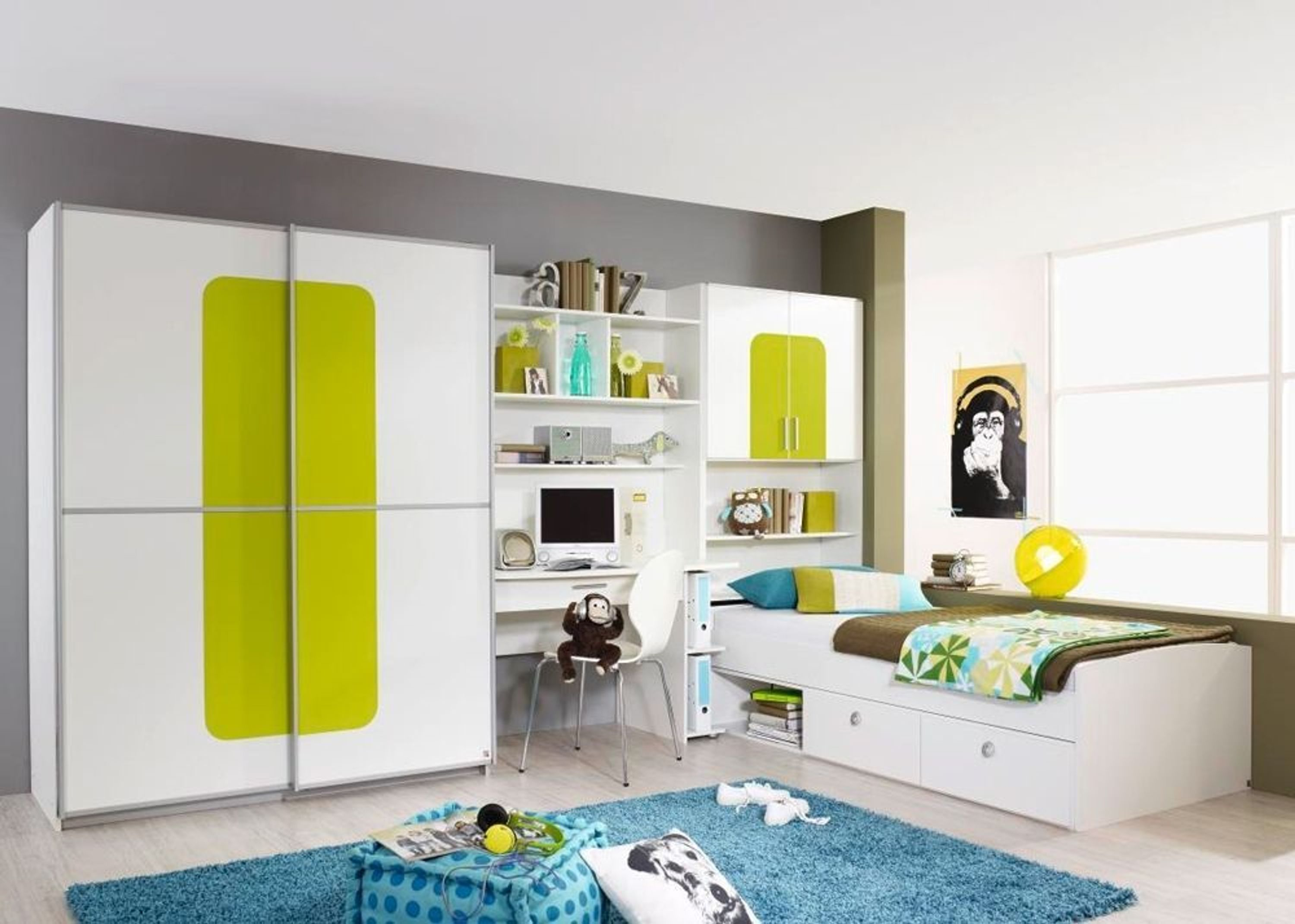 jugendzimmer komplett utah kinderzimmer 5 teilig wei gr n. Black Bedroom Furniture Sets. Home Design Ideas