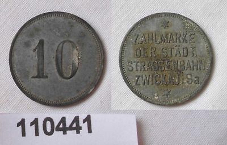 10 pfennig zink zahlmarke der st dtischen strassenbahn zwickau 110291 gebraucht kaufen bei. Black Bedroom Furniture Sets. Home Design Ideas