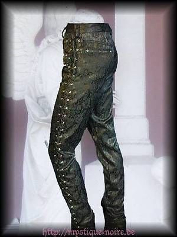 Herren Brokat Hose Gothic viktorianisch Pants schwarz