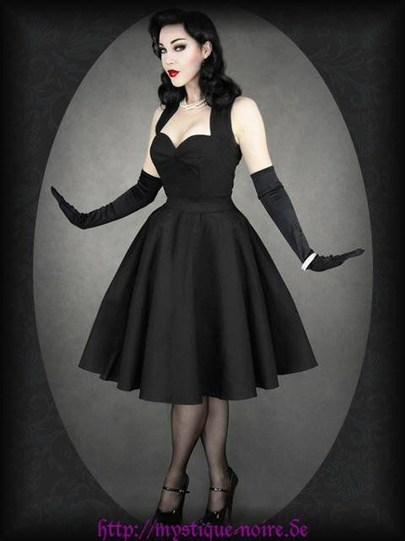rockabilly vintage kleid schwarz satin 40er 50er gothic pinup psychobilly kaufen bei. Black Bedroom Furniture Sets. Home Design Ideas