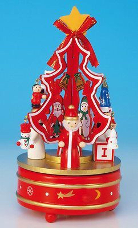 spieluhr roter weihnachtsbaum mit schmuck melodie o. Black Bedroom Furniture Sets. Home Design Ideas