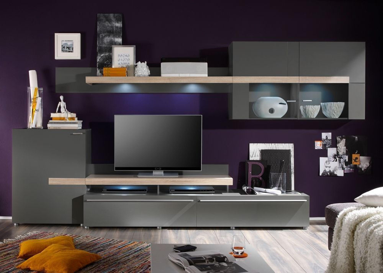 wohnwand piano mit tv aufsatz schwarz mit eiche sonoma 8724 kaufen bei. Black Bedroom Furniture Sets. Home Design Ideas