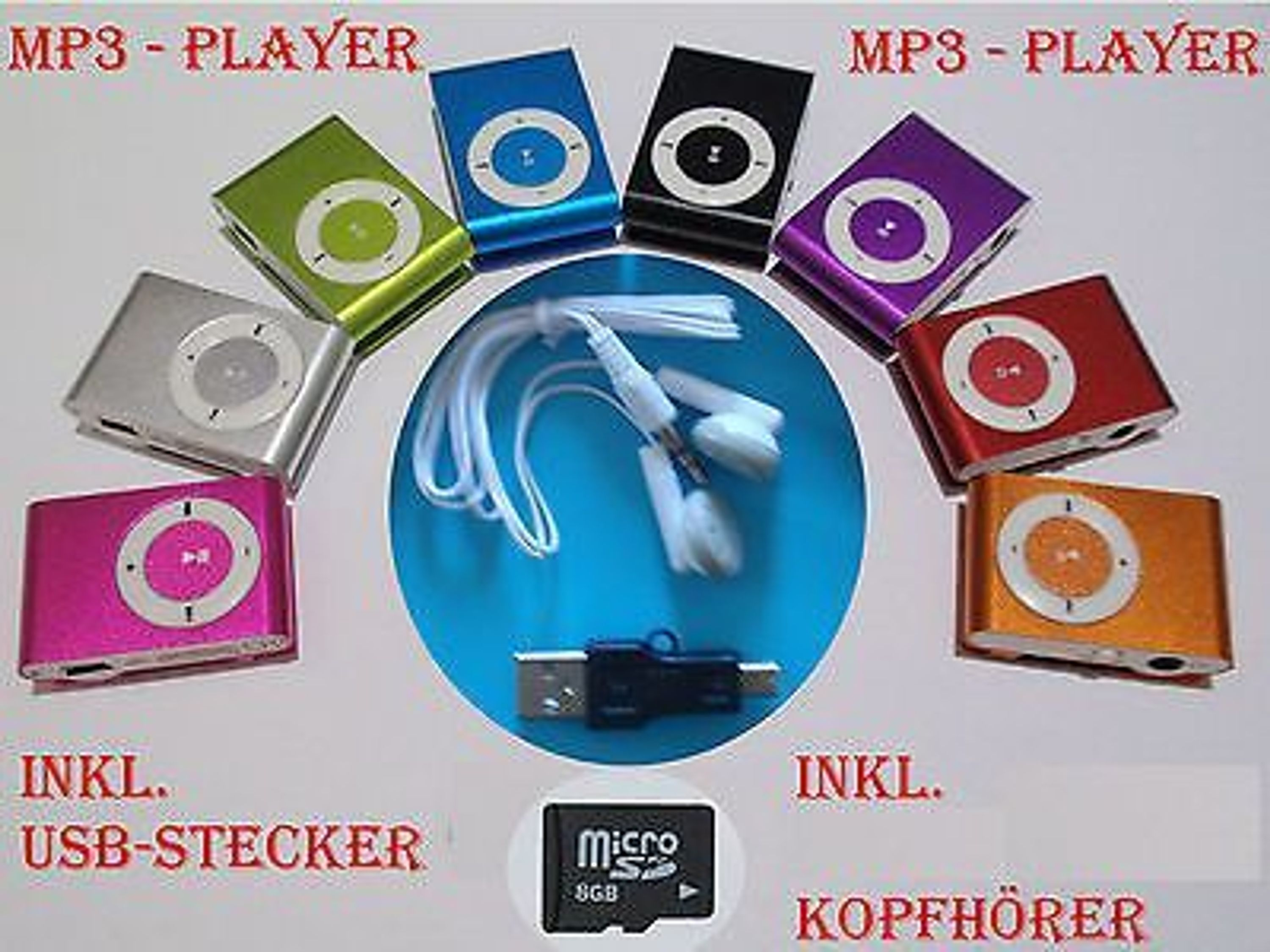 mp3 player inkl 8gb micro sd karte clip funktion. Black Bedroom Furniture Sets. Home Design Ideas