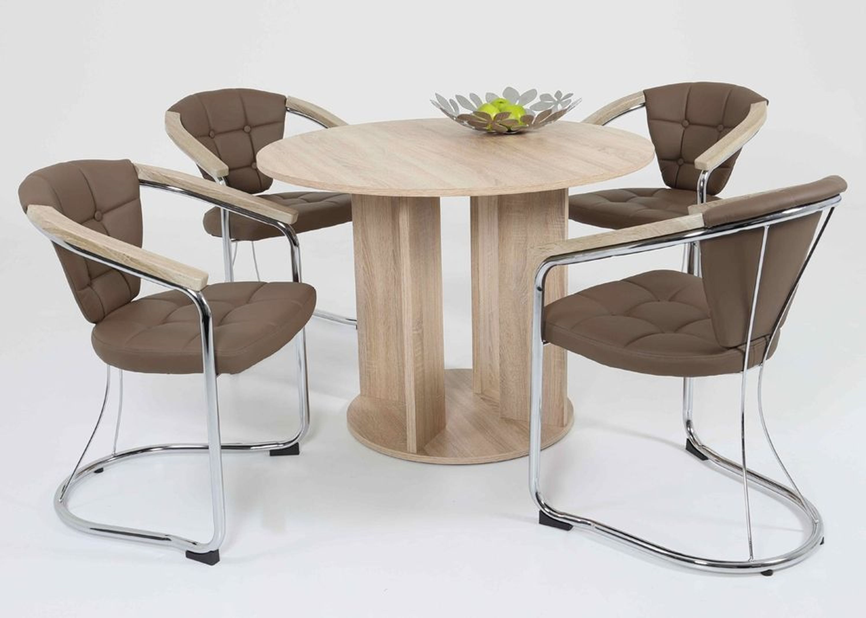 essgruppe esstisch sonoma eiche mit 4 st hlen latte 1268 kaufen bei. Black Bedroom Furniture Sets. Home Design Ideas