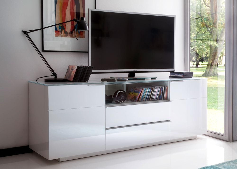 lowboard canberra tv schrank wei hochglanz hifi m bel. Black Bedroom Furniture Sets. Home Design Ideas