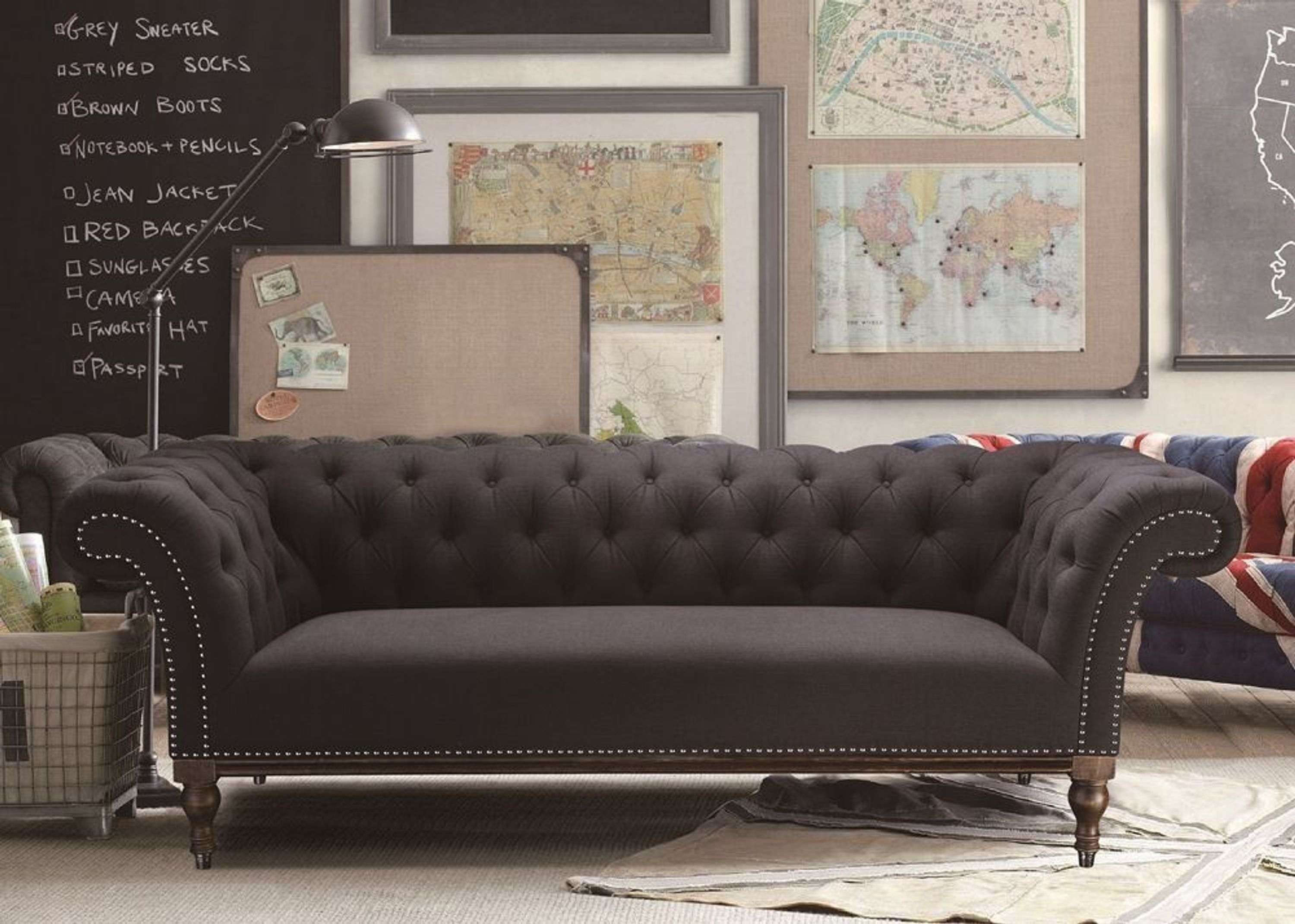sofa miami designer couch 3 sitzer bezug webstoff dunkelgrau 9453 kaufen bei. Black Bedroom Furniture Sets. Home Design Ideas