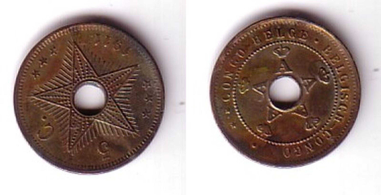 5 Cent Kupfer Nickel Münze Belgisch Kongo Congo Belge 1911 111953