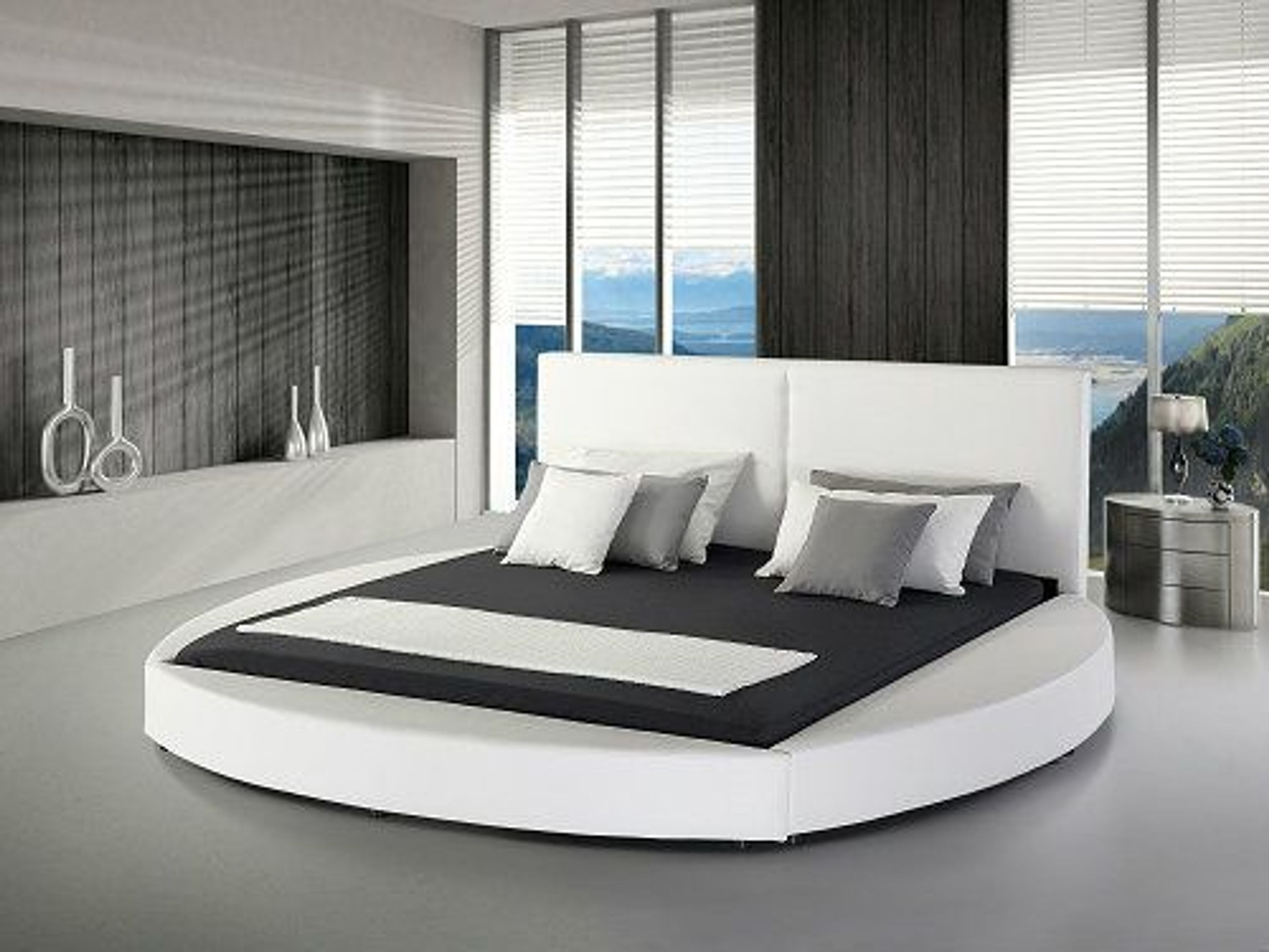 rundbett echtleder bett rund leder polsterbett lederbett schwarz weiss mit lattenrost kaufen bei. Black Bedroom Furniture Sets. Home Design Ideas