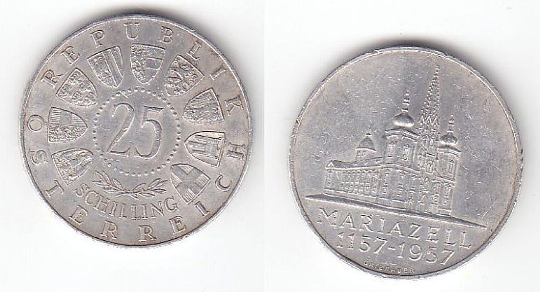 25 Schilling Silber Münze österreich Mariazell 1157 1957 112851