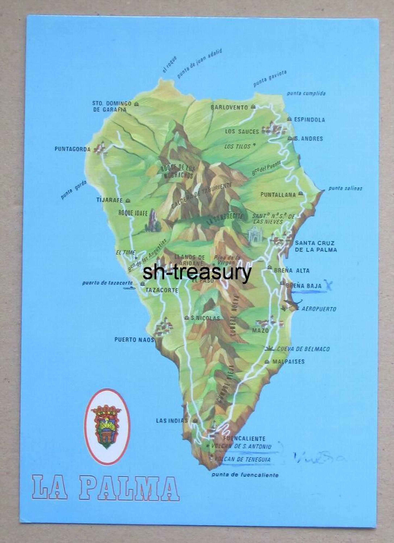 Alte Ak Farbig La Palma Provinz Teneriffa Karte