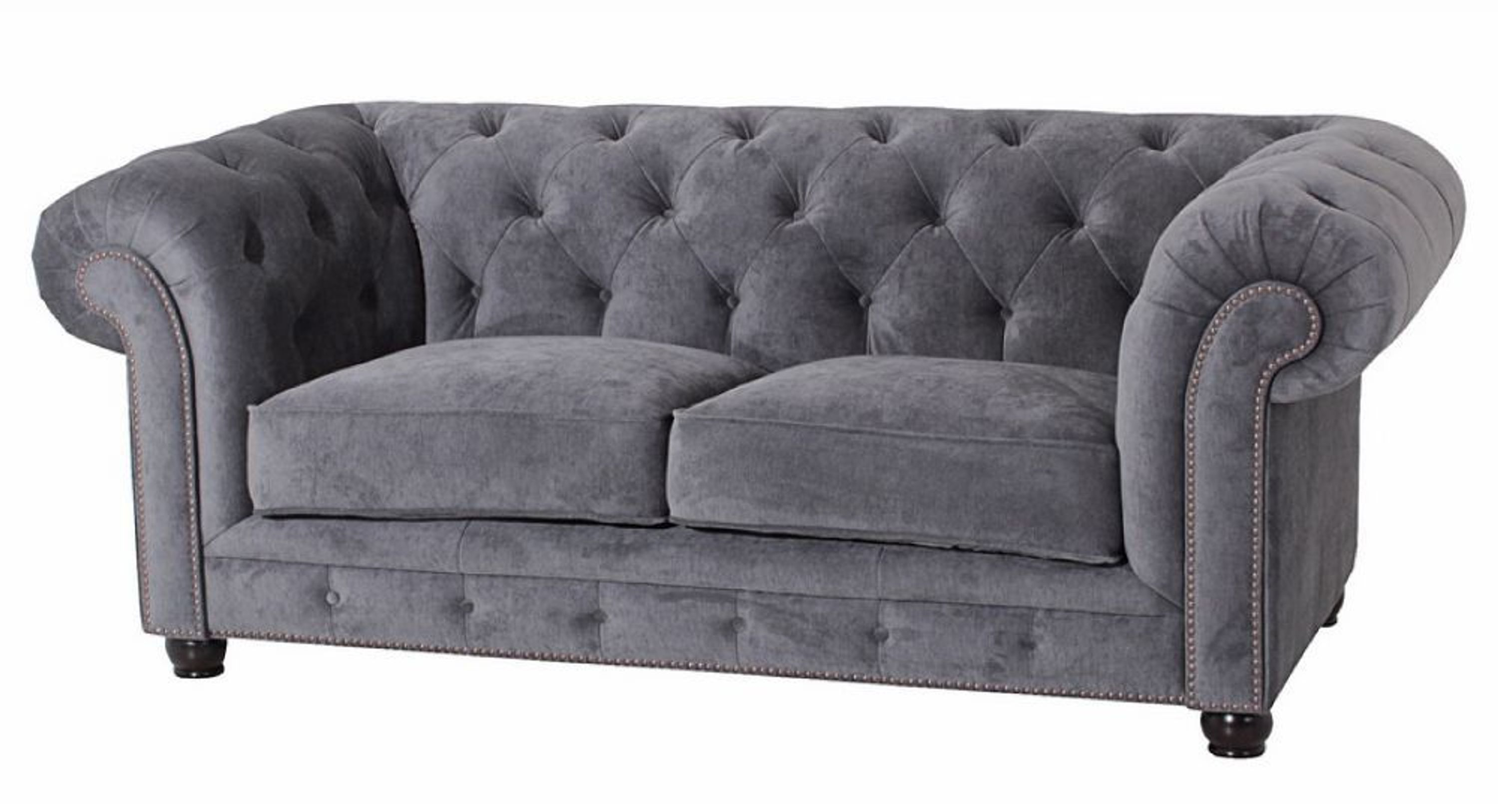 sofa 2 sitz orleans samtvelours grau kaufen bei. Black Bedroom Furniture Sets. Home Design Ideas