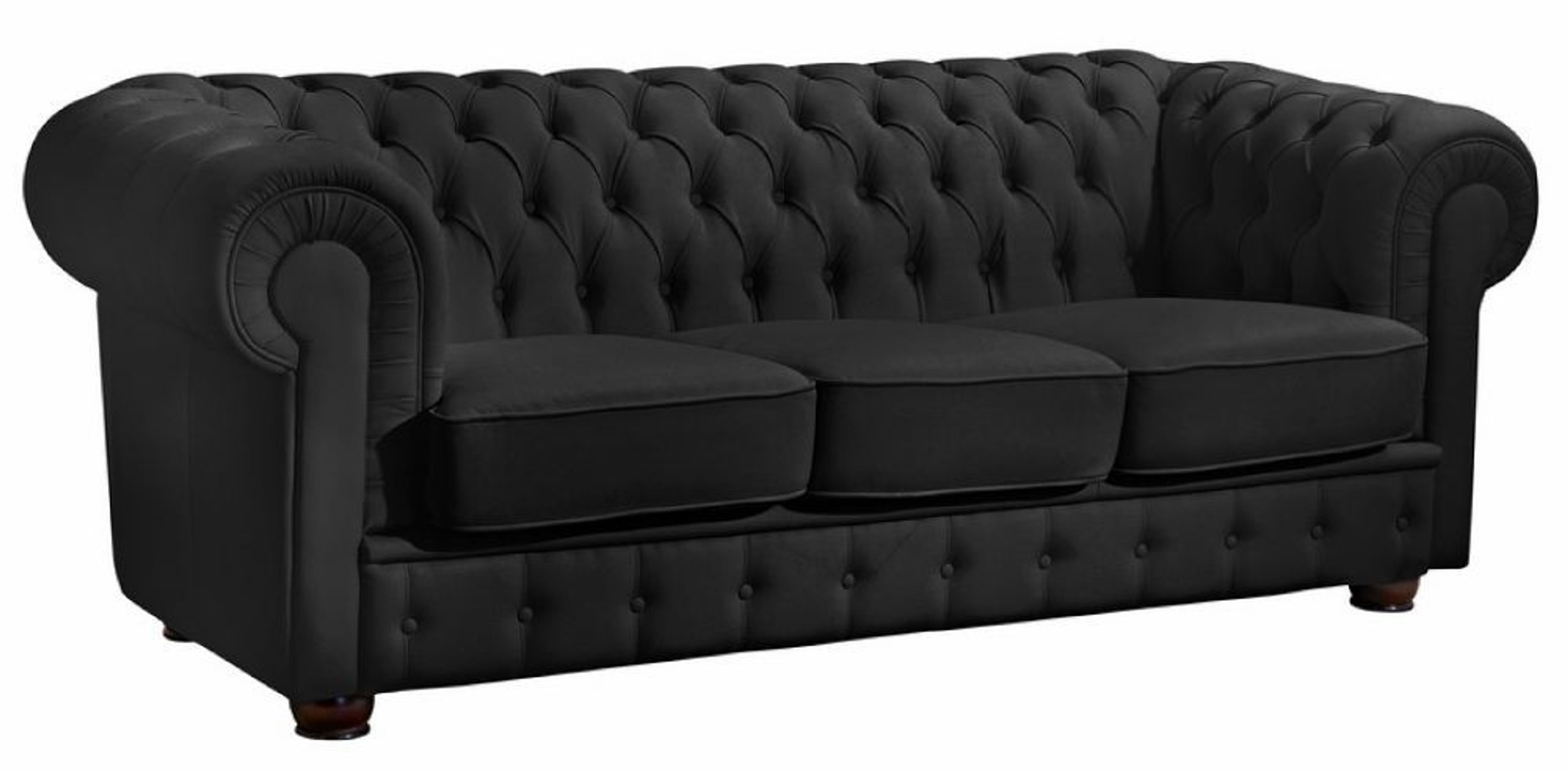 sofa 3 sitz bridgeport pigmentiertes nappaleder schwarz kaufen bei. Black Bedroom Furniture Sets. Home Design Ideas